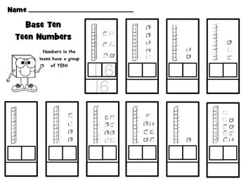 base ten cut and paste worksheets with flipbook by