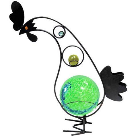 garden meadow solar garden meadow co 12 inch solar glass rooster with green