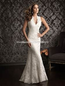 custom made 2014 sexy lace mermaid wedding dresses deep v With v neck lace wedding dress