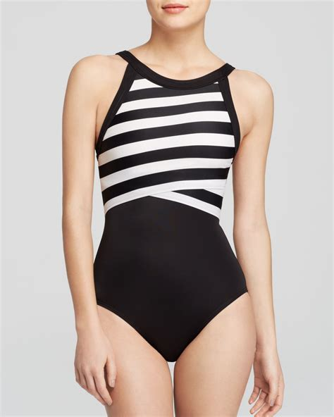 high neck one swimsuit dkny iconic stripes high neck maillot one swimsuit