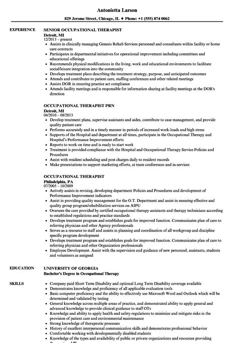 Occupational Therapy Resume New Grad by Occupational Therapist Resume Sles Velvet