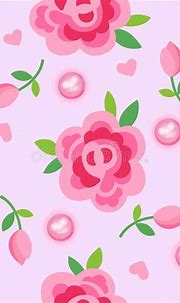 Pink Roses & Pearls Seamless Background Stock Vector ...