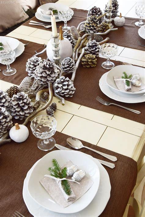 dekoration für weihnachten winterlich festliche tischdeko mit naturmaterialien