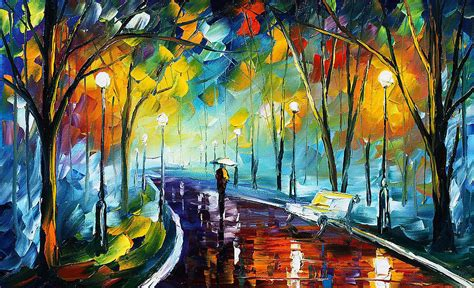 night park  palette knife oil painting  canvas