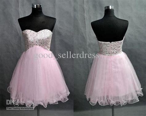 Sexy Light Pink Prom Dresses Seetheart Short Rhinestones
