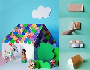 Origami Maison En Papier : diy bricolage origami facile enfants maisonnette pliage ~ Zukunftsfamilie.com Idées de Décoration