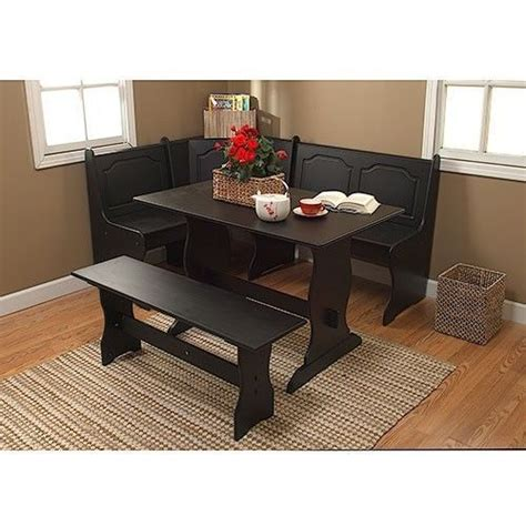 breakfast nook kitchen table new black 3 piece corner dining table bench breakfast