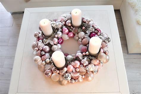 weihnachtskugeln selber machen adventskranz aus weihnachtskugeln selber machen