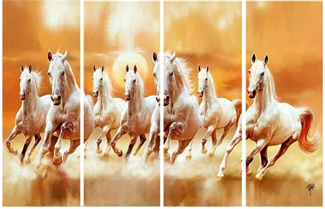 Ray Decor Running Seven Horses 4 Frames Wall Ink Painting