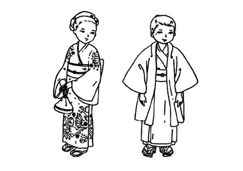 93 Japanese Boy Coloring Page And Girl