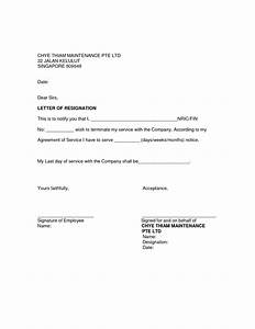 Resignation letter template for resignation letter for Template for resignation letter singapore