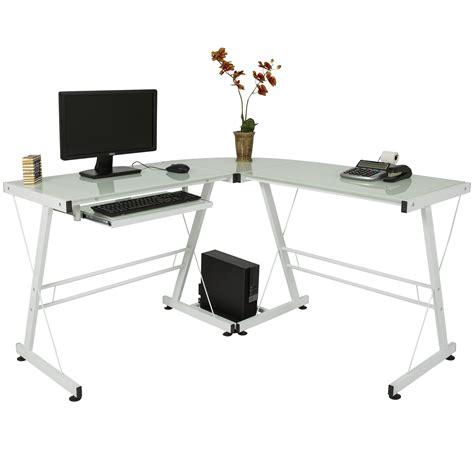 glass table computer desk l shape computer desk pc glass laptop table workstation