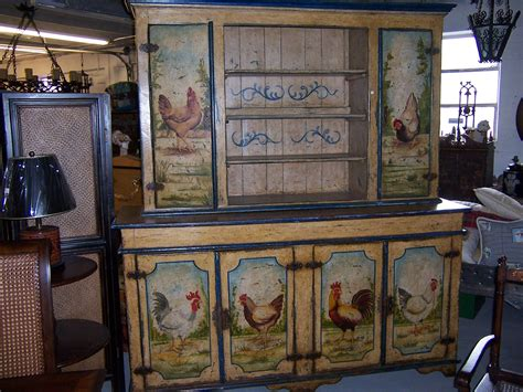 Painted Kitchen Furniture by Painted Rooster Hutch Roosters Paint