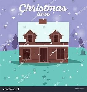 Christmas Cards Winter House Collection Vector Stock ...