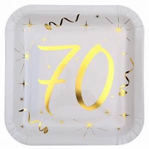 Idee Deco Table Anniversaire 70 Ans : assiette anniversaire 70 ans achat assiette carton carr e banc or ~ Dode.kayakingforconservation.com Idées de Décoration