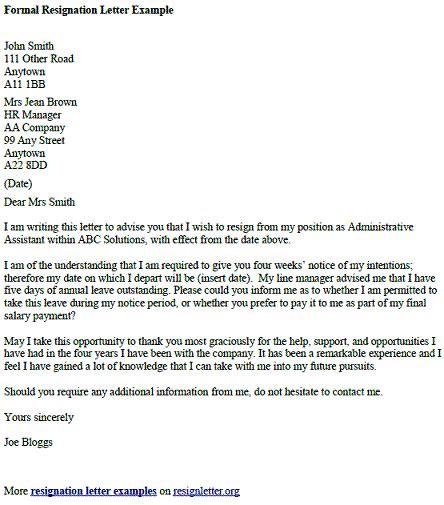 formal resignation letter template formal resignation letter exle resignletter org