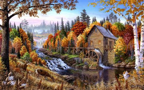 fall mill wooden mountain river waterfall forest  pine