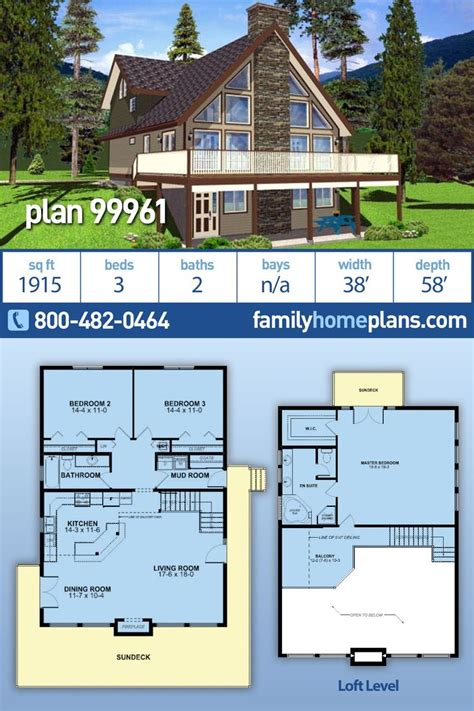 Traditional Style House Plan 99961 with 3 Bed 2 Bath in