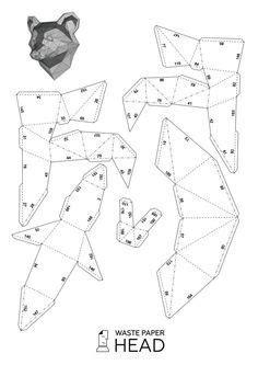 papercraft raccoon head printable diy template paper