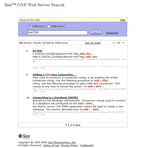 Customizing The Search Results Page (sun Java System Web Server 61 Sp10 Administrator's Guide