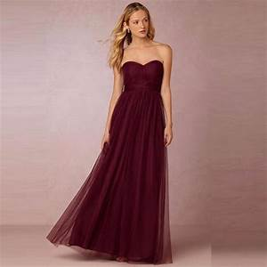 Under 100 sexy burgundy long bridesmaid dresses plus size for Maroon dresses for wedding