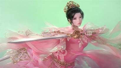 Warrior Asian Fantasy Female Sword Wallpapers Desktop