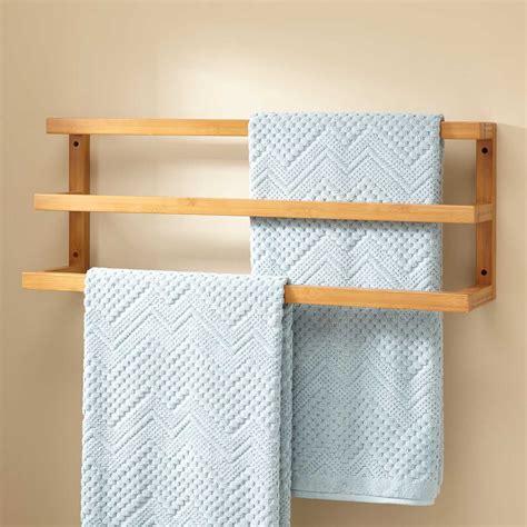 Signature Hardware Veska Bamboo Mounted Towel Rack Ebay