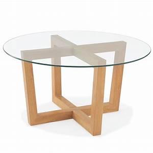 Table Plateau Verre Pied Bois : table basse ronde avec plateau en verre tremp et pieds en bois dya ~ Melissatoandfro.com Idées de Décoration