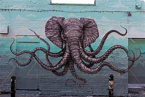 An Elephant-Octopus Mural on the Streets of London by ...