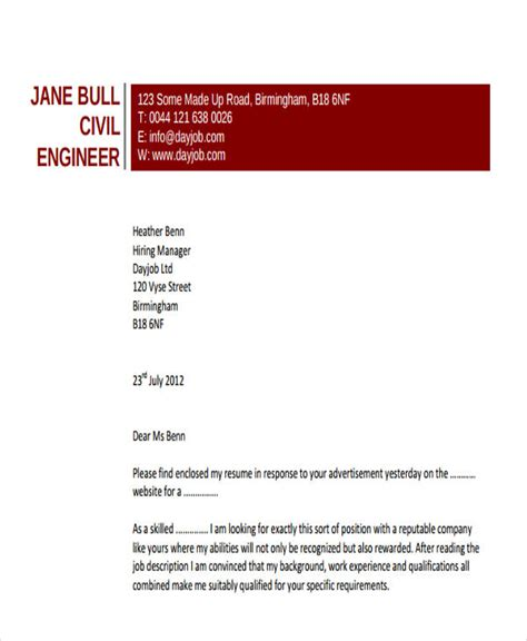 cover letter for cv civil engineer 28 images civil