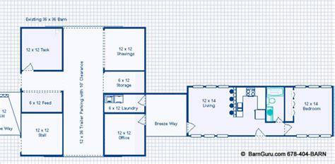 genius barn living floor plans barns with living quarters floor plans