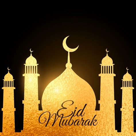 Golden Mosque Wallpaper by Eid Festival Background With Golden Mosque Vector Free