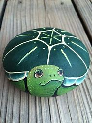 Whimsical Painted Rocks Turtle