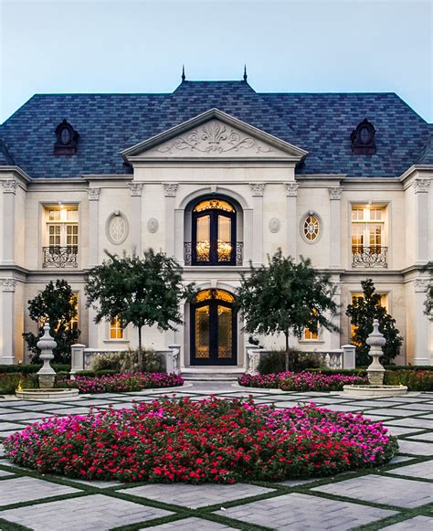 french renaissance chateau style mansion  elegant curb