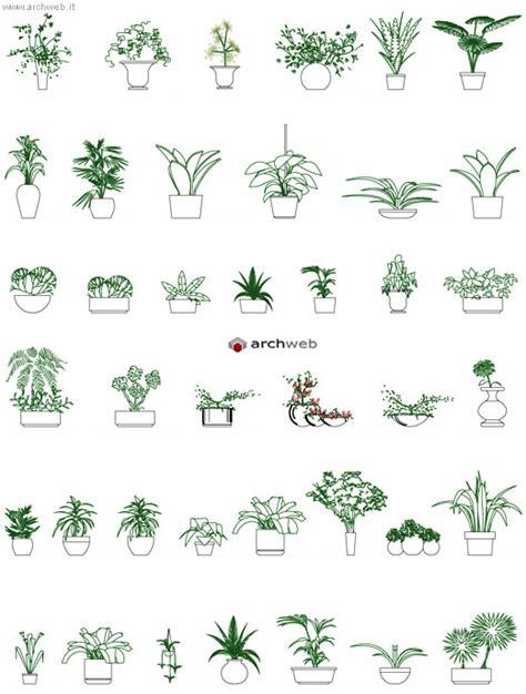 vasi dwg piante per interni e in vaso disegni dwg