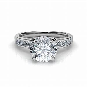 channel set round cut engagement ring With channel wedding rings