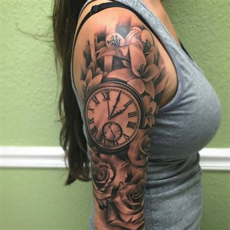 grey rose flowers  clock tattoo    sleeve  travis brown