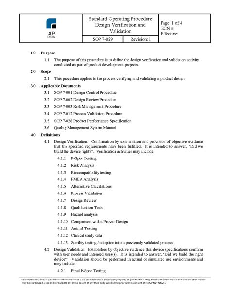 Design Verification and Validation Procedure