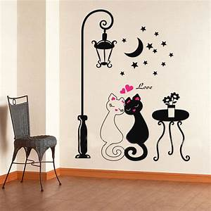 Aliexpress buy cut black couple cat wall