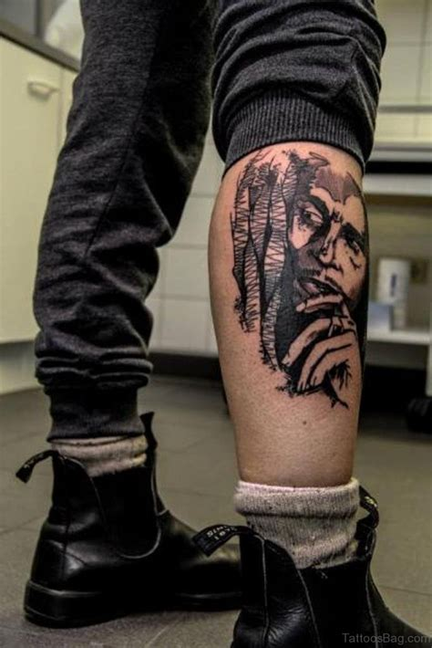 outstanding portrait tattoos  leg