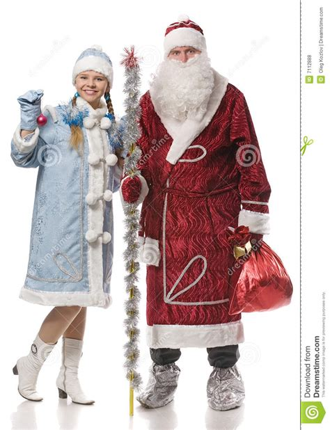 Santa Claus With Maiden In Bright Clothes Stock Santa Claus And Stock Photo Image Of
