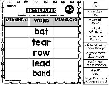 homographs worksheets by teaching second grade tpt