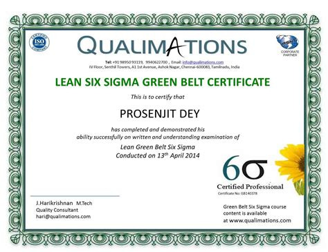 Lean Six Sigma Green Belt Resume by Qualimation Six Sigma Sixsigma Six Sigmajobs Lean Qualimations Qa Qc Qa Qc