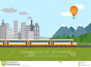 Train On Railway Stock Vector - Image: 55760744