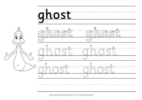 ghost handwriting worksheet