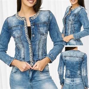 Jeans Mit Strass Und Perlen : damen jeansjacke perlen strass slim glitzer steine kurze jeans jacke kragenlos ebay ~ Frokenaadalensverden.com Haus und Dekorationen