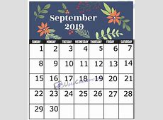 September 2019 Calendar Printable Template with Holidays