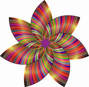 Clipart - Colorful Flower Line Art 3