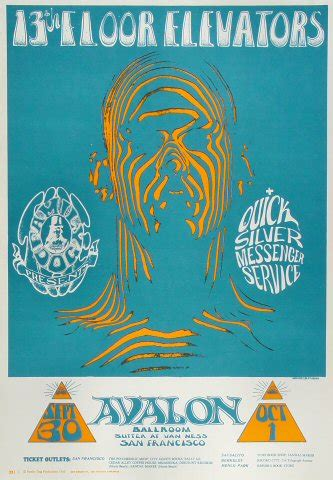 Thirteenth Floor Elevators Tour by 13th Floor Elevators Poster From Avalon Ballroom Sep 30