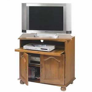 Meuble Tv Rustique : meuble tv ch ne rustique plateau pivotant ~ Nature-et-papiers.com Idées de Décoration